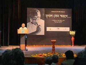 Premendra Mazumder speaks at Mrinal Sen commemoration ceremony | Dhaka | Photo: Md Abid Mallick